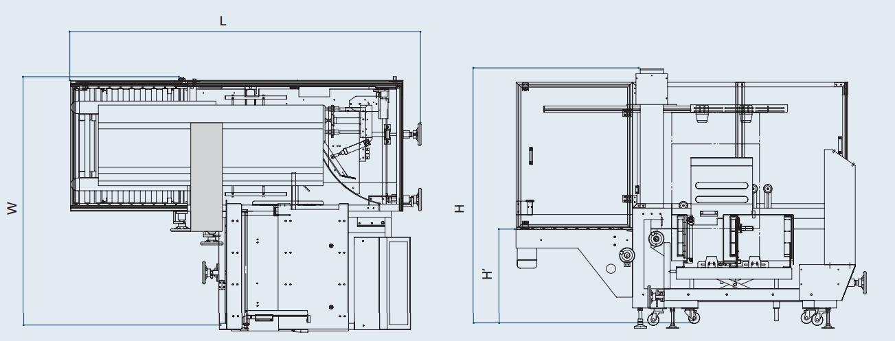 MME - Maquinaria y Materiales de Embalaje -medidas de la formadora de cajas